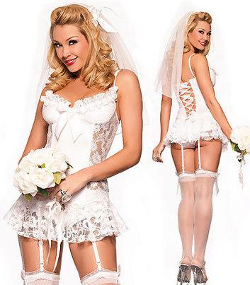 Seksikas pruudi kostüüm – valge