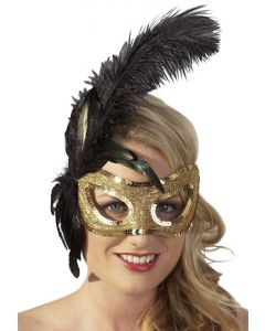 Feather Mask, kuldne mask musta sulega, Aksessuaarid naistele , Muu