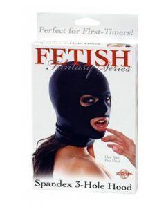 Spandex 3 Hole Hood, black, BDSM  ja Fetish Sekslelud, Naistele, Meestele