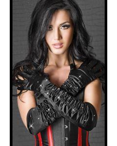 Satin gloves black with stones S-L, Aksessuaarid naistele