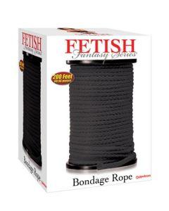 Bondage Rope Black, must sidumsnöör 61m, BDSM  ja Fetish Sekslelud, Naistele, Meestele
